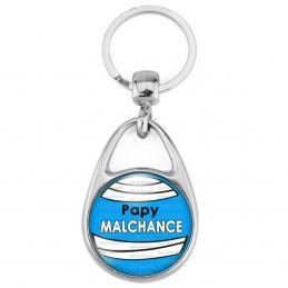 Porte Clés Métal 2 Faces Logo 3cm Papy Malchance - Fond bleu