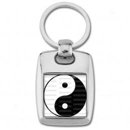 Porte Clés Rectangle Acier 2 Faces Yin Yang Blanc Noir Harmonie Equilibre Feng Shui Paix Peace