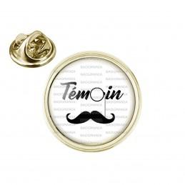 Pin's rond 2cm doré Témoin Homme - Binocle Moustache Mariage Cérémonie