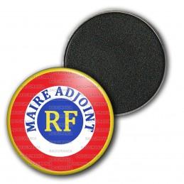 Magnet Aimant Frigo 3.8cm Cocarde Bleu Blanc Rouge RF Maire Adjoint Bleu Position Haut