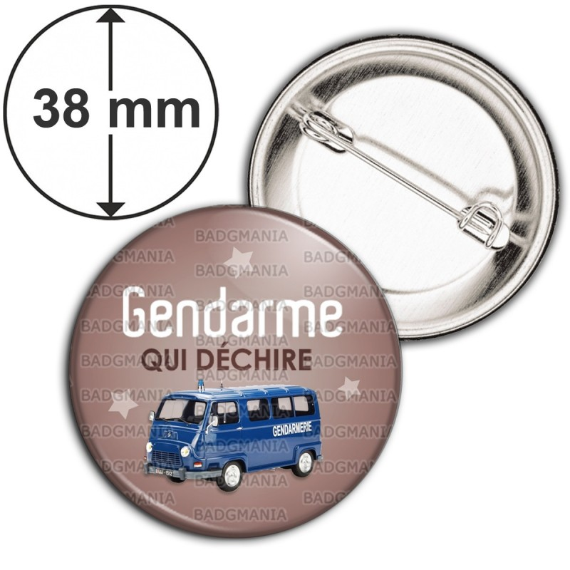 Badge 38mm Epingle Gendarme qui déchire - Estafette Fond Marron
