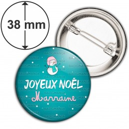 Badge 38mm Epingle Joyeux Noël MARRAINE - Bonhomme de neige Flocons Fond Bleu