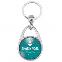 Porte Clés Métal 2 Faces Logo 3cm Joyeux Noël TONTON - Bonhomme de neige Flocons Fond Bleu
