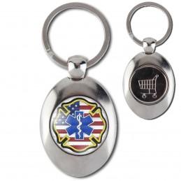 Porte-Clés Acier Ovale Jeton Caddie Croix de Vie Ambulancier Drapeau USA