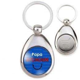 Porte-Clés Acier Goutte Jeton Caddie Papa Atchoum - Fond bleu