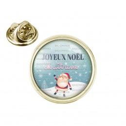 Pin's rond 2cm doré Joyeux Noël Maîtresse - Boule de neige Père Noël