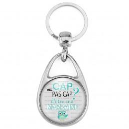 Porte Clés Métal 2 Faces Logo 3cm Cap ou pas Cap d'être ma Marraine - Fond gris Chouette - Annonce Naissance