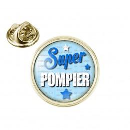 Pin's rond 2cm doré Super Pompier - Fond Bleu Etoiles