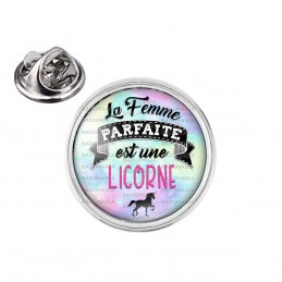 Pin's rond 2cm argenté La Femme Parfaite est une LICORNE - Licorne noire