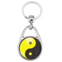 Porte Clés Métal 2 Faces Logo 3cm Yin Yang Jaune Gris Foncé Harmonie Equilibre Feng Shui Paix Peace Amour Love