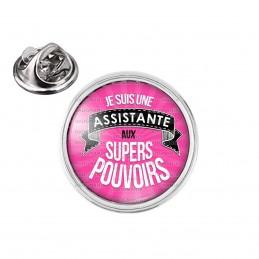Pin's rond 2cm argenté Je Suis Assistante aux Supers Pouvoirs