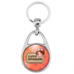 Porte Clés Métal 2 Faces Logo 3cm Super Infirmière - Clin d'OEil Fnd orange etoile