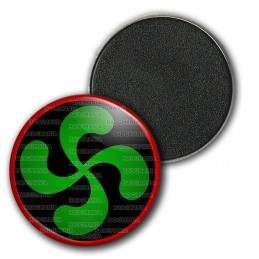 Magnet Aimant Frigo 3.8cm Croix Basque Verte fond Noir Rouge Pays Basque Euskadi Euskara Symbole 64 Biarritz