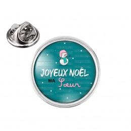 Pin's rond 2cm argenté Joyeux Noël MA SŒUR - Bonhomme de neige Flocons Fond Bleu