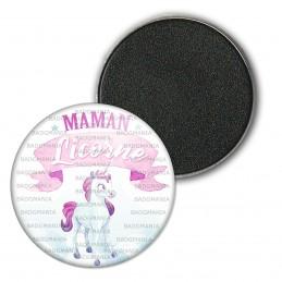 Magnet Aimant Frigo 3.8cm Maman Licorne - Rose Fond Blanc