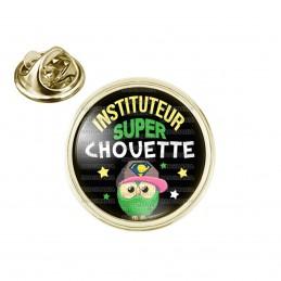 Pin's rond 2cm doré Instituteur Super Chouette - Fond Noir