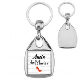 Porte-Clés Carré Acier Amie des Mariés - Escarpin Rouge Mariage Cérémonie
