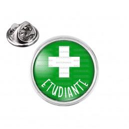 Pin's rond 2cm argenté Etudiante en Pharmacie Croix Fond Vert