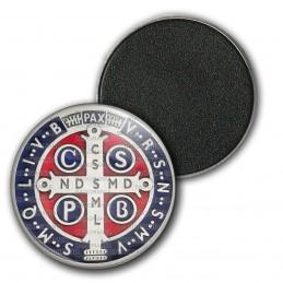Magnet Aimant Frigo 3.8cm Medaille Croix de Saint Benoit Couleur Exorcisme Benediction