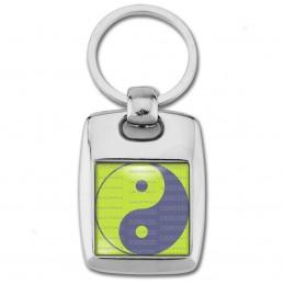 Porte Clés Rectangle Acier 2 Faces Yin Yang Vert Anis Gris Harmonie Equilibre Feng Shui Paix Peace