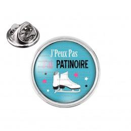 Pin's rond 2cm argenté J'Peux Pas J'ai Patinoire - Patins à Glace fond bleu