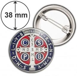 Badge 38mm Epingle Medaille Croix de Saint Benoit Couleur Exorcisme Benediction