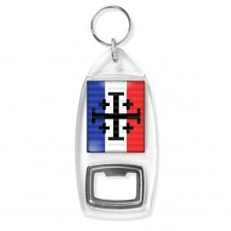 Porte Clés Décapsuleur Croix de Jérusalem Terre Sainte Drapeau Français Catholique Nation