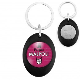 Porte-Clés Noir Ovale Jeton Caddie Papa Malpoli - Fond violet