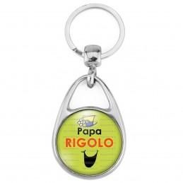 Porte Clés Métal 2 Faces Logo 3cm Papa Rigolo - Fond vert