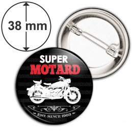 Badge 38mm Epingle Super Motard - Moto Blanche Fond Noir