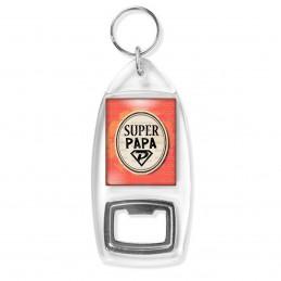 Porte Clés Décapsuleur Super Papa - Super Héros Ovale Fond Orange