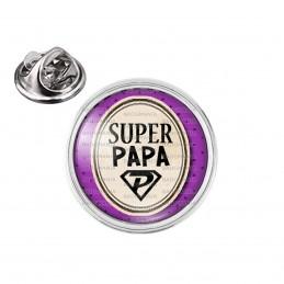 Pin's rond 2cm argenté Super Papa - Super Héros Ovale Fond Violet