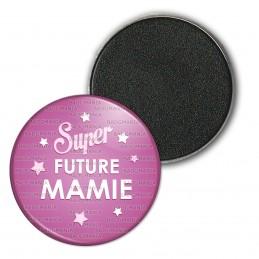 Magnet Aimant Frigo 3.8cm Super Future MAMIE - Etoiles Fond Rose