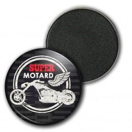 Magnet Aimant Frigo 3.8cm Super Motard - Moto Ailée Fond Noir