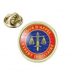 Pin's rond 2cm doré Cocarde Bleu Rouge Expert Judiciaire Cours d'Appel Texte Or