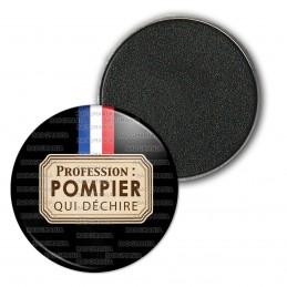 Magnet Aimant Frigo 3.8cm Profession POMPIER qui déchire - Bleu Blanc Rouge Fond Noir
