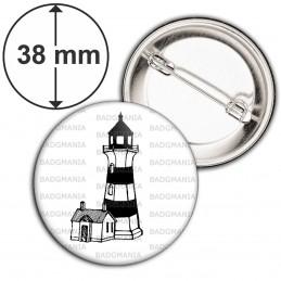Badge 38mm Epingle Phare Balise - Symbole Marin