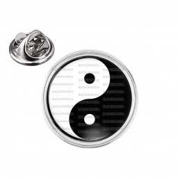 Pin's rond 2cm argenté Yin Yang Blanc Noir Harmonie Equilibre Feng Shui Paix Peace