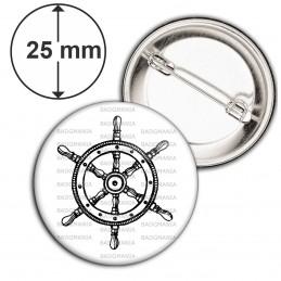 Badge 25mm Epingle Barre à Roue Bateau - Symbole Marin