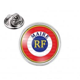 Pin's rond 2cm argenté Cocarde Bleu Blanc Rouge RF Maire Ecriture position haute
