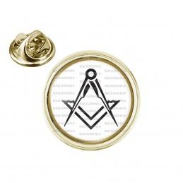 Pin's rond 2cm doré Compas Equerre Francs-Maçons Symbole Maçonnique Noir Cercle Or