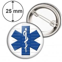 Badge 25mm Epingle Croix de Vie Caducée Santé