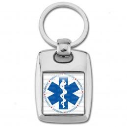 Porte Clés Rectangle Acier 2 Faces Croix de Vie Paramedic Caducée Santé
