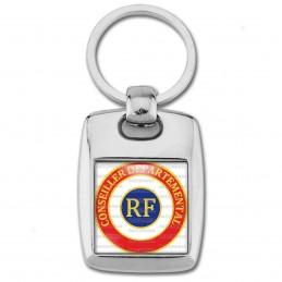 Porte Clés Rectangle Acier 2 Faces Cocarde Tricolore Conseiller Départemental RF Bleu Blanc Rouge