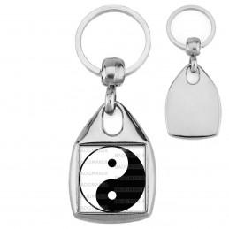 Porte-Clés Carré Acier Yin Yang Blanc Noir Harmonie Equilibre Feng Shui Paix Peace