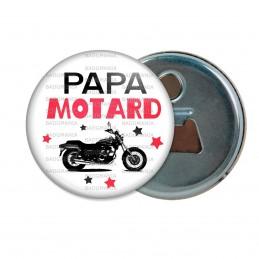Décapsuleur 6cm Aimant Magnet Papa Motard - Moto Noire Fond BLanc