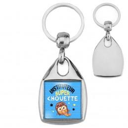 Porte-Clés Carré Acier Instituteur Super Chouette - Echarpe Fond Bleu
