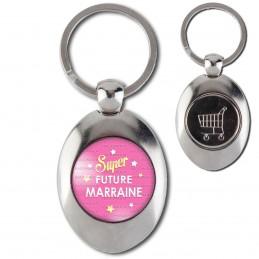 Porte-Clés Acier Ovale Jeton Caddie Super Future MARRAINE - Etoiles Fond Rose
