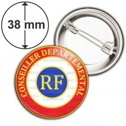 Badge 38mm Epingle Cocarde Tricolore Conseiller Départemental RF Bleu Blanc Rouge