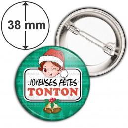 Badge 38mm Epingle Joyeuses Fêtes TONTON Noël Gui Cloches